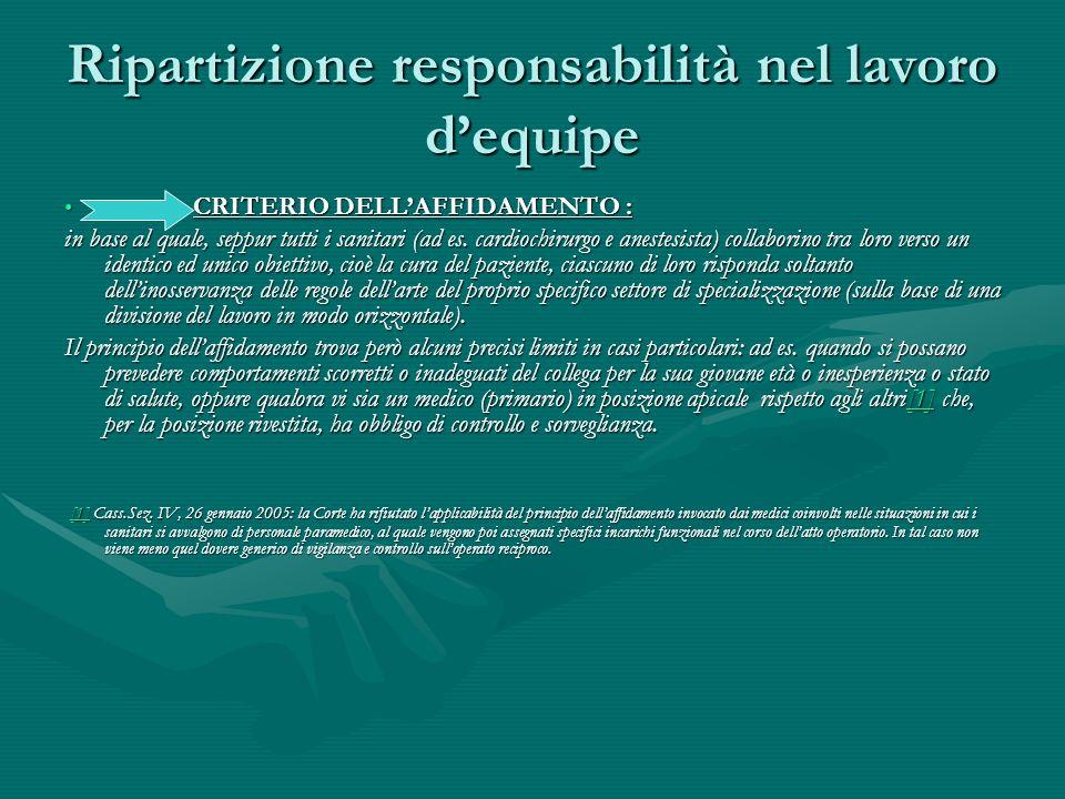 Ripartizione responsabilità nel lavoro d'equipe