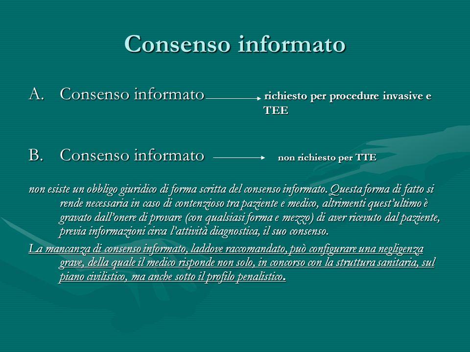 Consenso informato Consenso informato richiesto per procedure invasive e TEE.