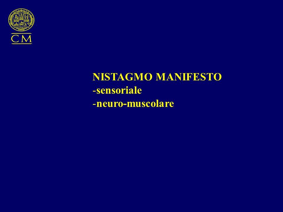 NISTAGMO MANIFESTO sensoriale neuro-muscolare