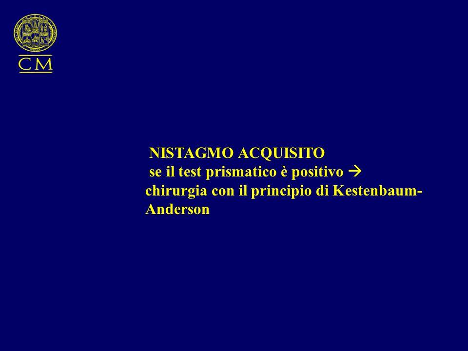 NISTAGMO ACQUISITO se il test prismatico è positivo  chirurgia con il principio di Kestenbaum-Anderson.