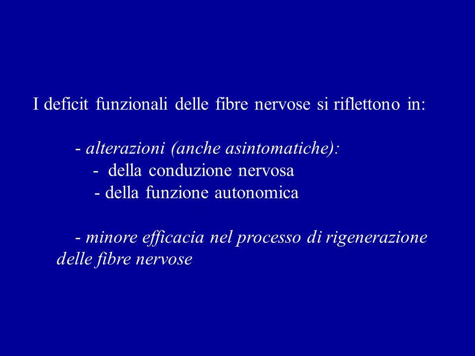 I deficit funzionali delle fibre nervose si riflettono in: