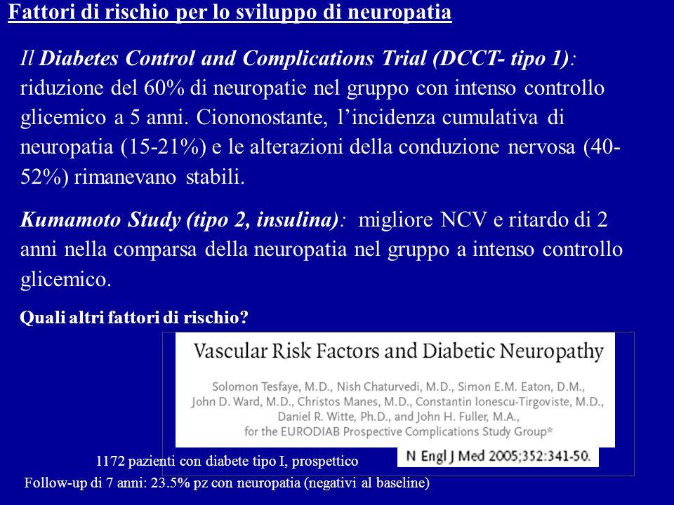 Fattori di rischio per lo sviluppo di neuropatia