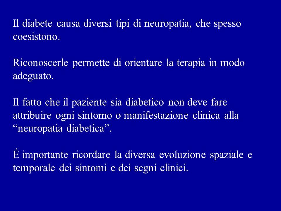 Il diabete causa diversi tipi di neuropatia, che spesso coesistono.