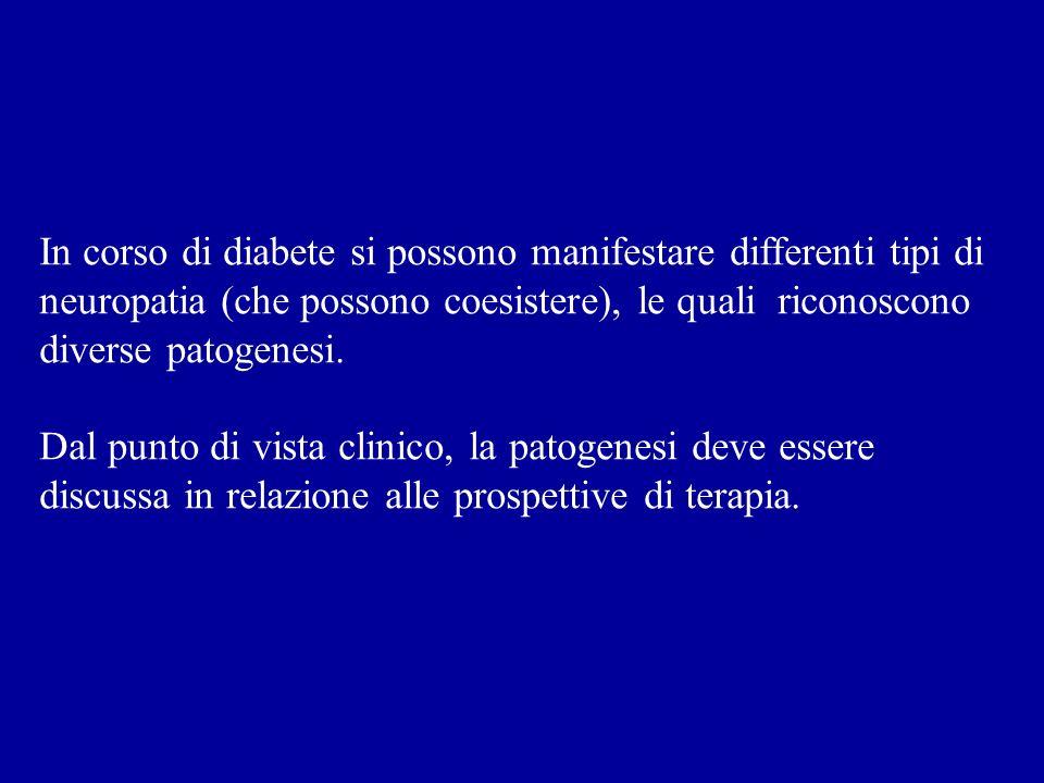 In corso di diabete si possono manifestare differenti tipi di neuropatia (che possono coesistere), le quali riconoscono diverse patogenesi.