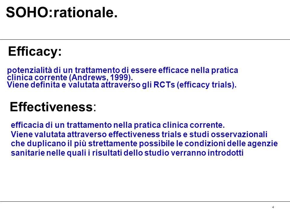 SOHO:rationale. Efficacy: Effectiveness: