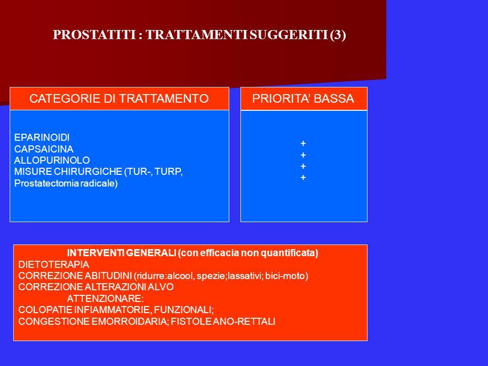 PROSTATITI : TRATTAMENTI SUGGERITI (3)