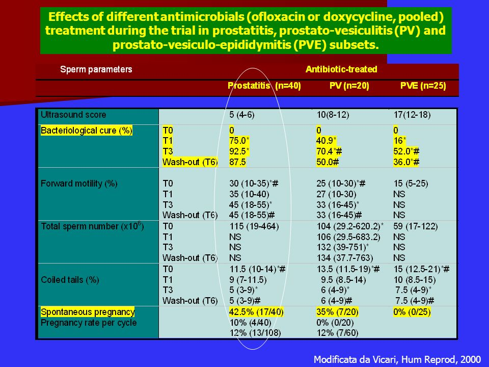 Effects of different antimicrobials (ofloxacin or doxycycline, pooled) treatment during the trial in prostatitis, prostato-vesiculitis (PV) and prostato-vesiculo-epididymitis (PVE) subsets.