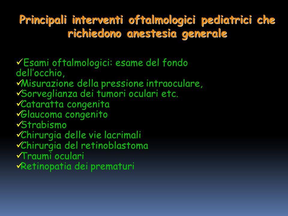 Principali interventi oftalmologici pediatrici che richiedono anestesia generale