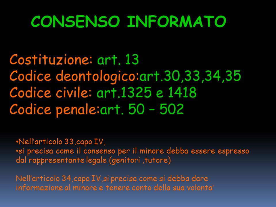 CONSENSO INFORMATO Costituzione: art. 13