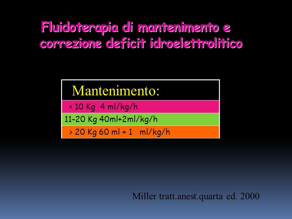 Fluidoterapia di mantenimento e correzione deficit idroelettrolitico