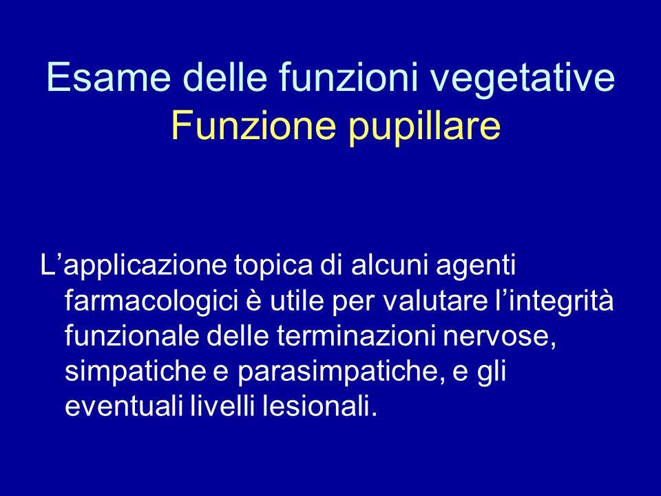 Esame delle funzioni vegetative Funzione pupillare
