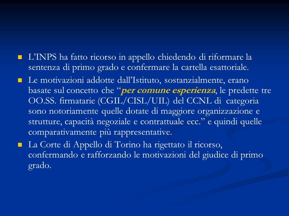 L'INPS ha fatto ricorso in appello chiedendo di riformare la sentenza di primo grado e confermare la cartella esattoriale.