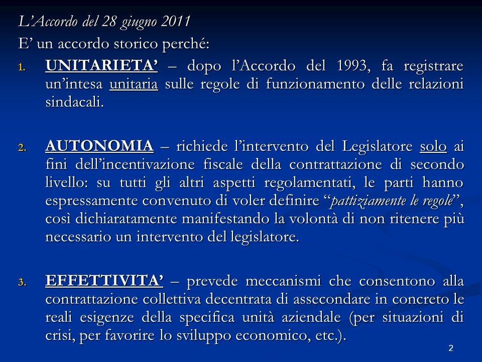 L'Accordo del 28 giugno 2011 E' un accordo storico perché: