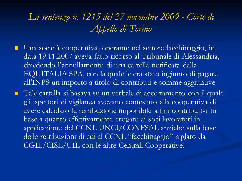 La sentenza n. 1215 del 27 novembre 2009 - Corte di Appello di Torino