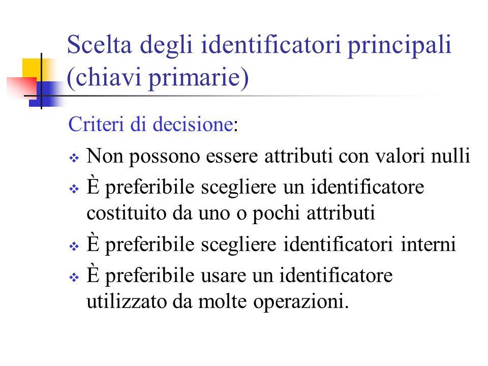 Scelta degli identificatori principali (chiavi primarie)