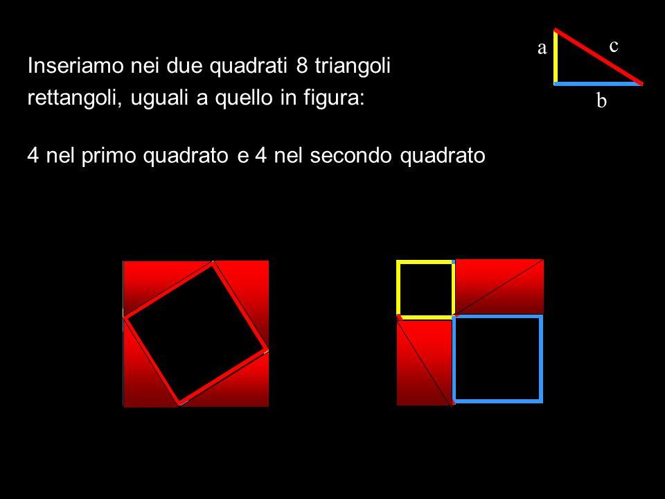 a c. Inseriamo nei due quadrati 8 triangoli rettangoli, uguali a quello in figura: b.