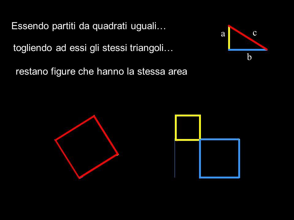 Essendo partiti da quadrati uguali… a c