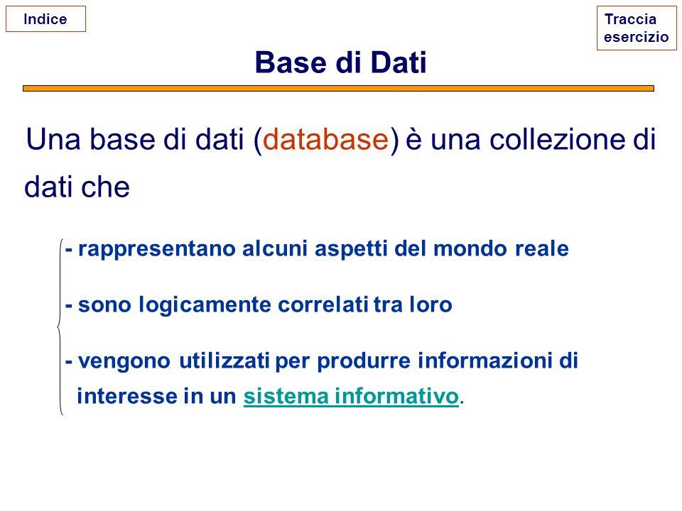 Una base di dati (database) è una collezione di