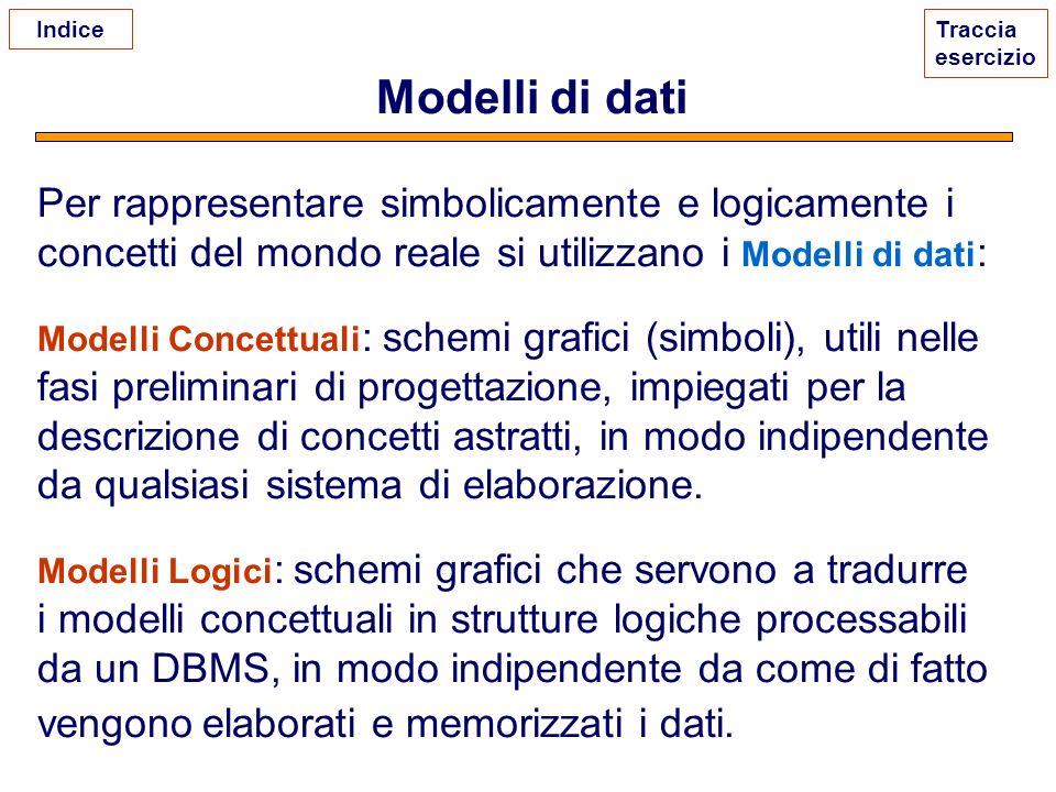 Modelli di dati Per rappresentare simbolicamente e logicamente i