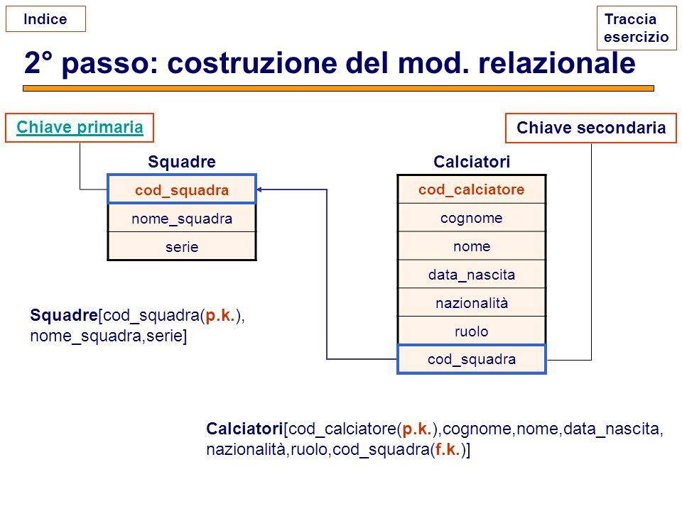 2° passo: costruzione del mod. relazionale
