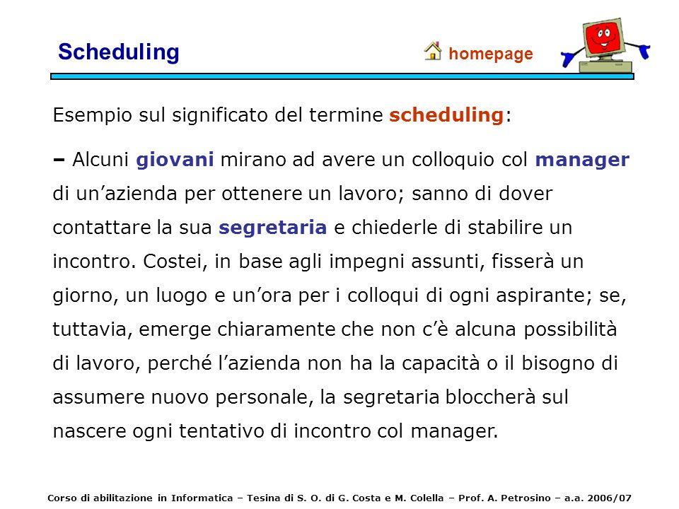 Scheduling Esempio sul significato del termine scheduling: