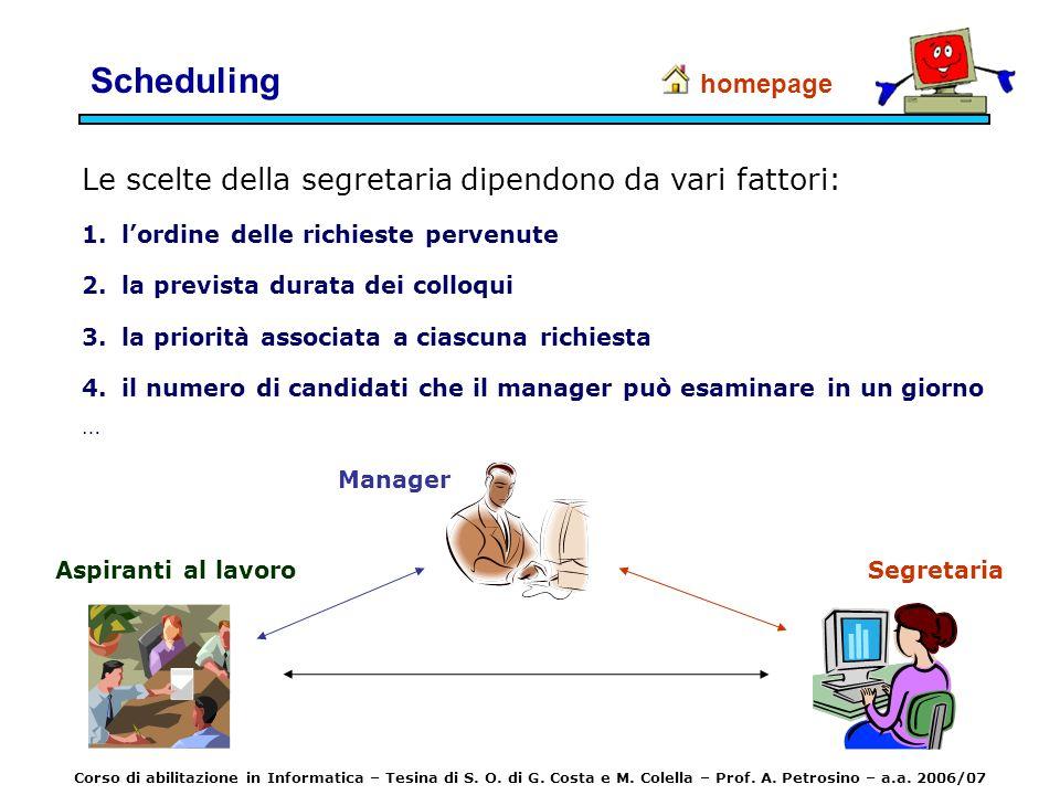 Scheduling Le scelte della segretaria dipendono da vari fattori: