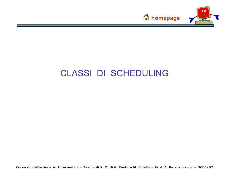 CLASSI DI SCHEDULING homepage