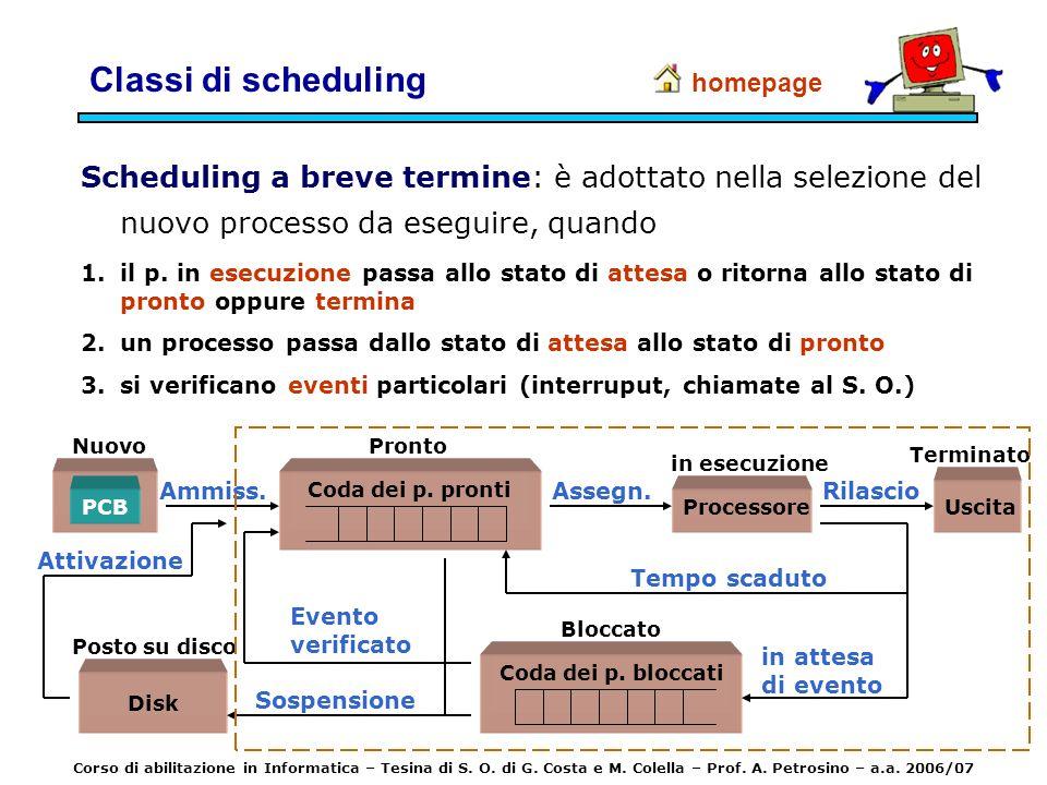 Classi di scheduling homepage. Scheduling a breve termine: è adottato nella selezione del nuovo processo da eseguire, quando.
