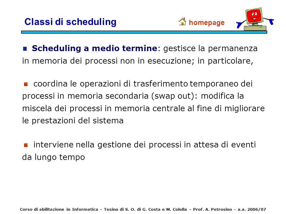 Classi di scheduling homepage. Scheduling a medio termine: gestisce la permanenza in memoria dei processi non in esecuzione; in particolare,