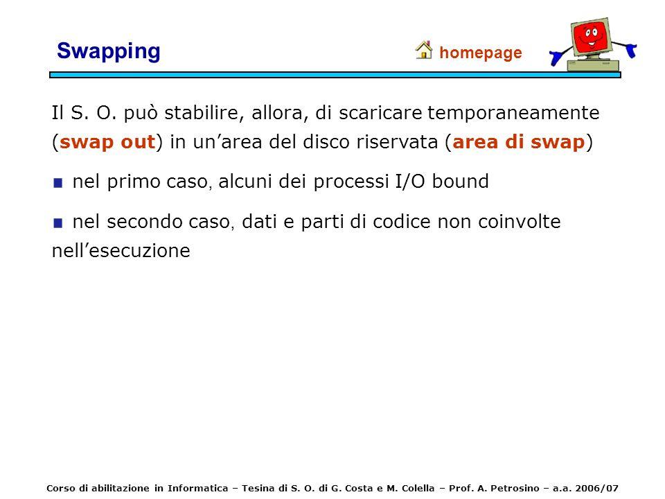 Swapping homepage. Il S. O. può stabilire, allora, di scaricare temporaneamente (swap out) in un'area del disco riservata (area di swap)
