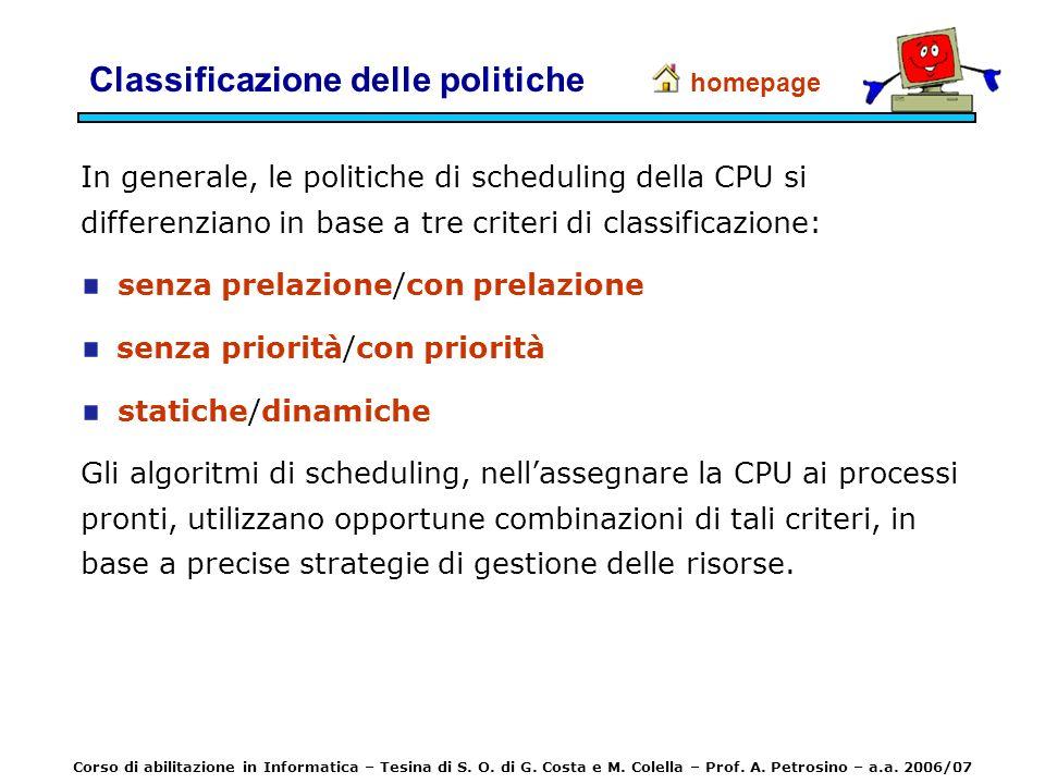 Classificazione delle politiche