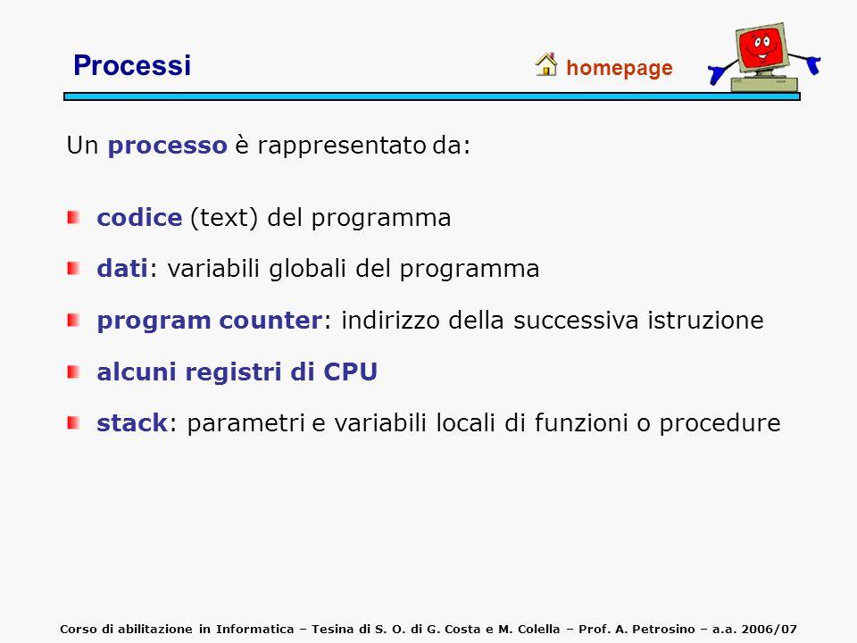 Processi Un processo è rappresentato da: homepage