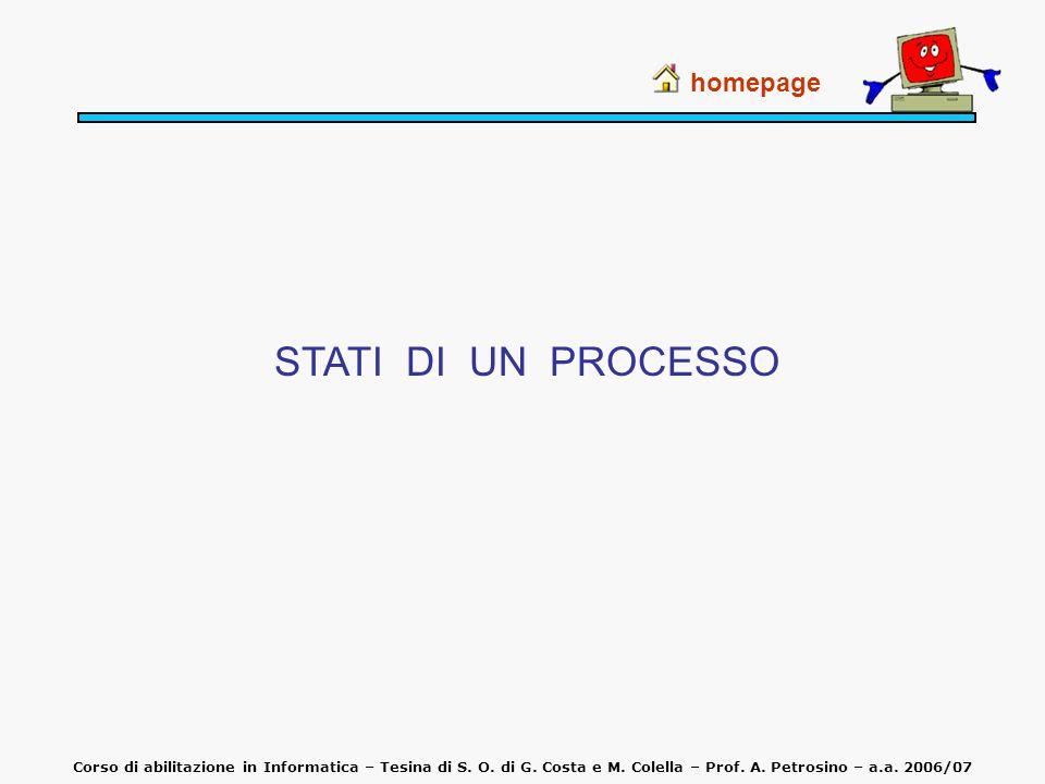 STATI DI UN PROCESSO homepage
