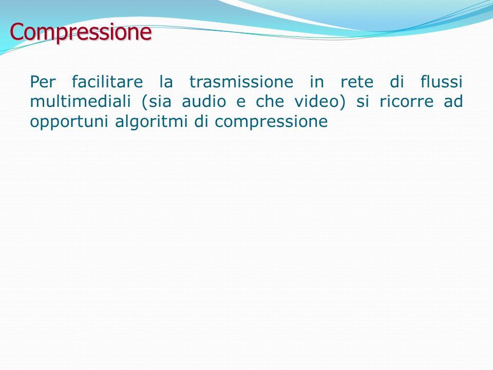 Compressione Per facilitare la trasmissione in rete di flussi multimediali (sia audio e che video) si ricorre ad opportuni algoritmi di compressione.