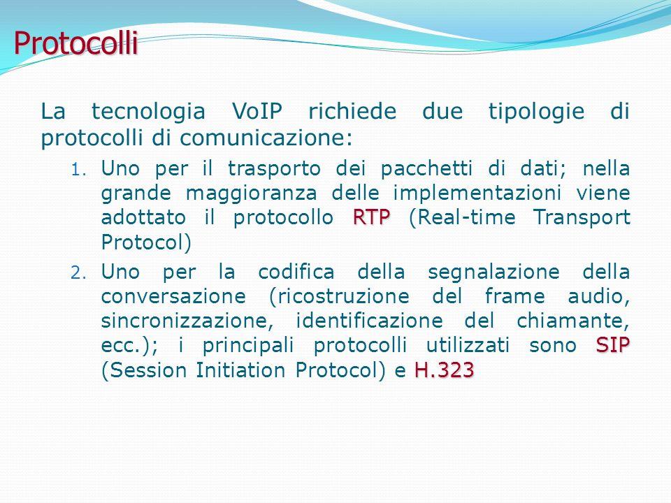 Protocolli La tecnologia VoIP richiede due tipologie di protocolli di comunicazione: