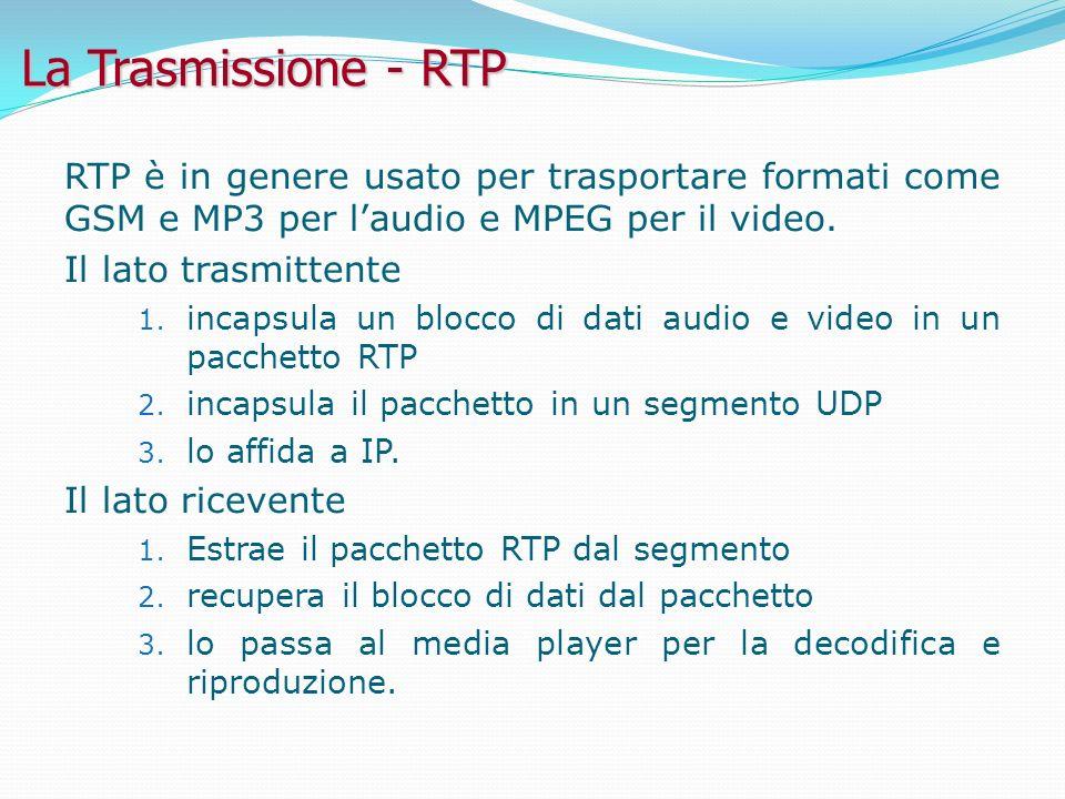 La Trasmissione - RTP RTP è in genere usato per trasportare formati come GSM e MP3 per l'audio e MPEG per il video.