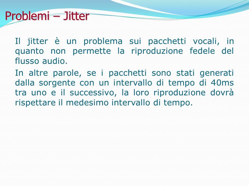 Problemi – Jitter Il jitter è un problema sui pacchetti vocali, in quanto non permette la riproduzione fedele del flusso audio.