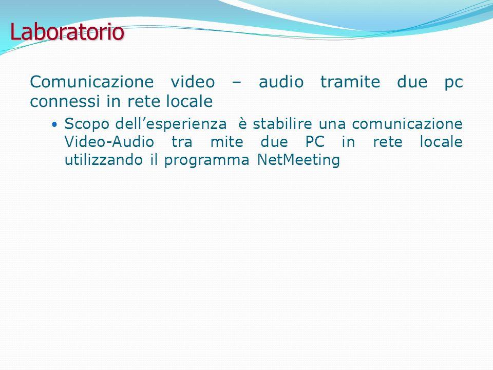 Laboratorio Comunicazione video – audio tramite due pc connessi in rete locale.