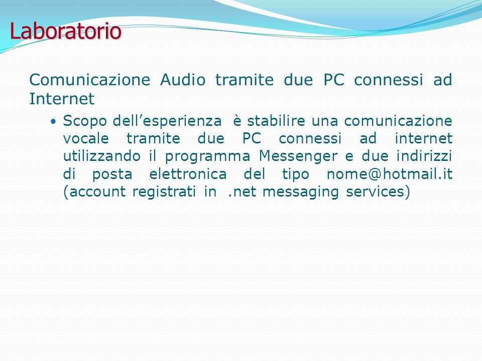 Laboratorio Comunicazione Audio tramite due PC connessi ad Internet