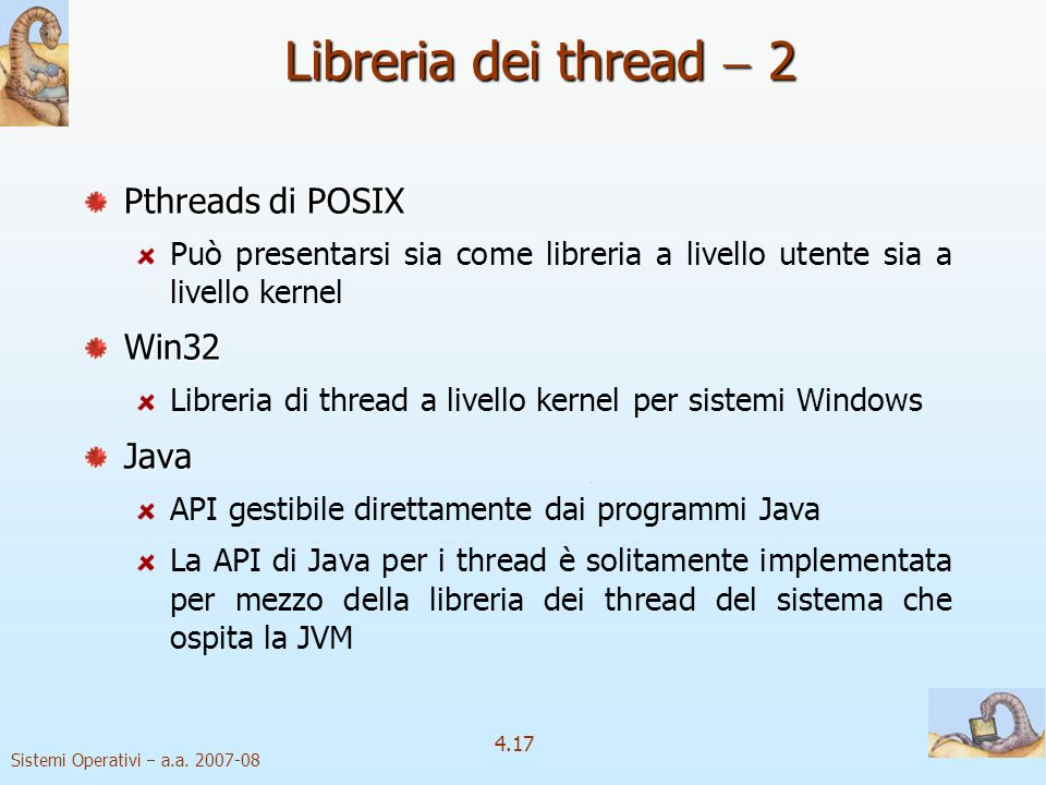 Libreria dei thread  2 Pthreads di POSIX Win32 Java