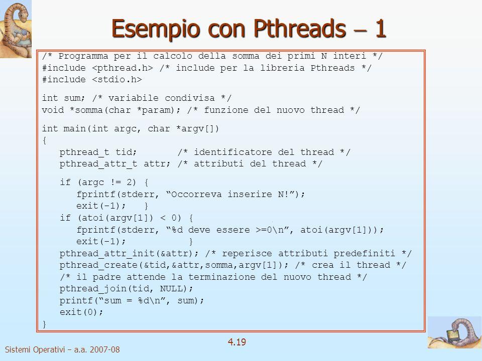 Esempio con Pthreads  1 /* Programma per il calcolo della somma dei primi N interi */ #include <pthread.h> /* include per la libreria Pthreads */