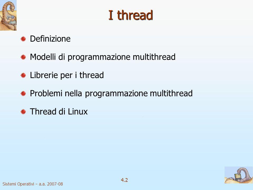 I thread Definizione Modelli di programmazione multithread