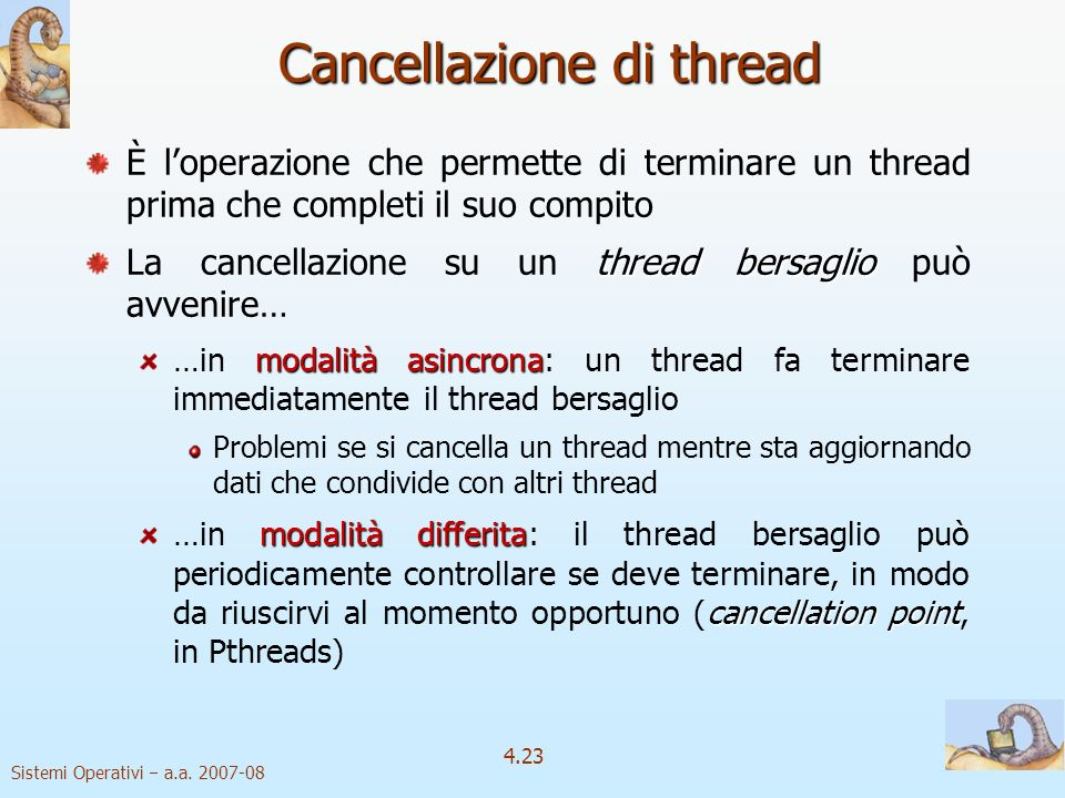 Cancellazione di thread