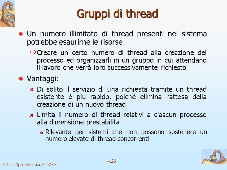 Gruppi di thread Un numero illimitato di thread presenti nel sistema potrebbe esaurirne le risorse.