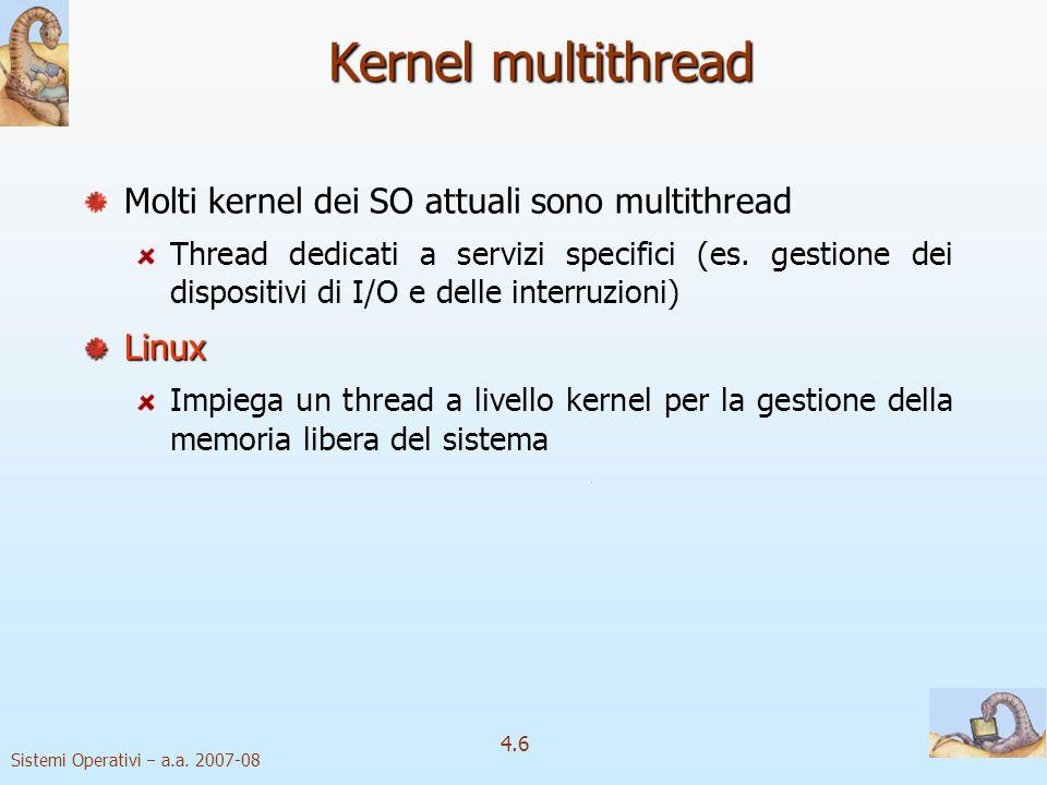 Kernel multithread Molti kernel dei SO attuali sono multithread Linux