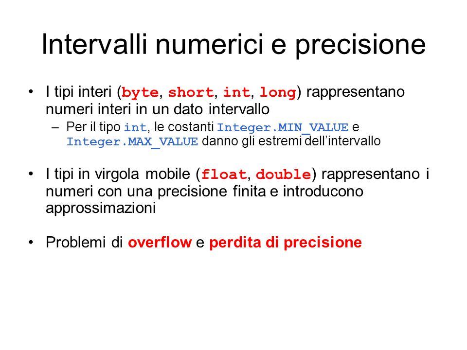 Intervalli numerici e precisione