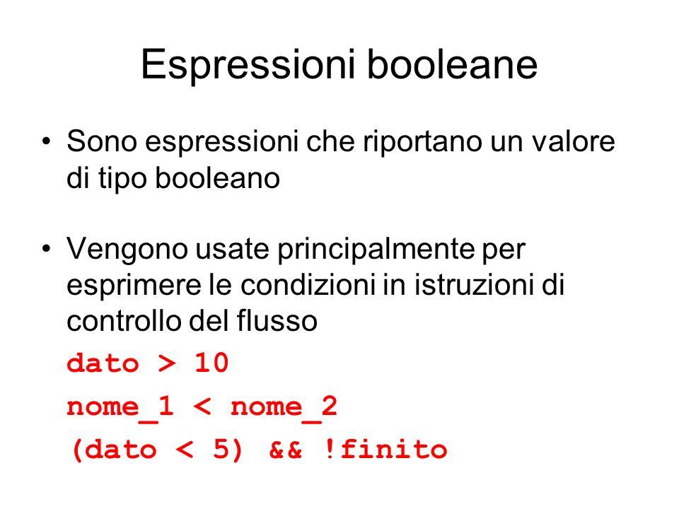 Espressioni booleane Sono espressioni che riportano un valore di tipo booleano.