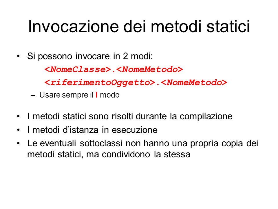 Invocazione dei metodi statici