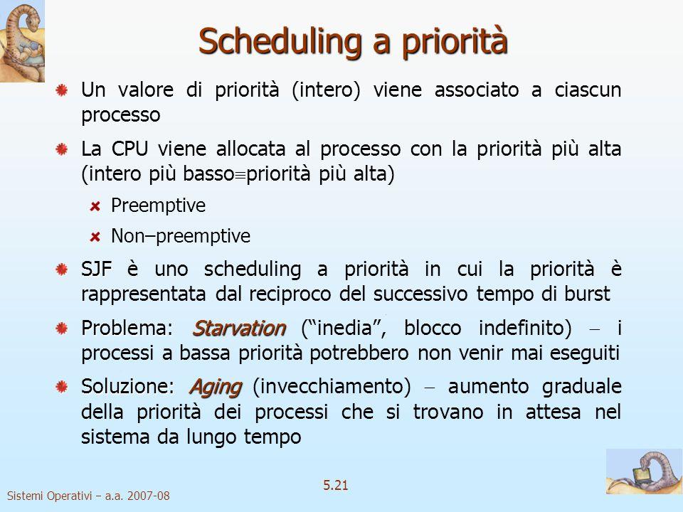 Scheduling a priorità Un valore di priorità (intero) viene associato a ciascun processo.