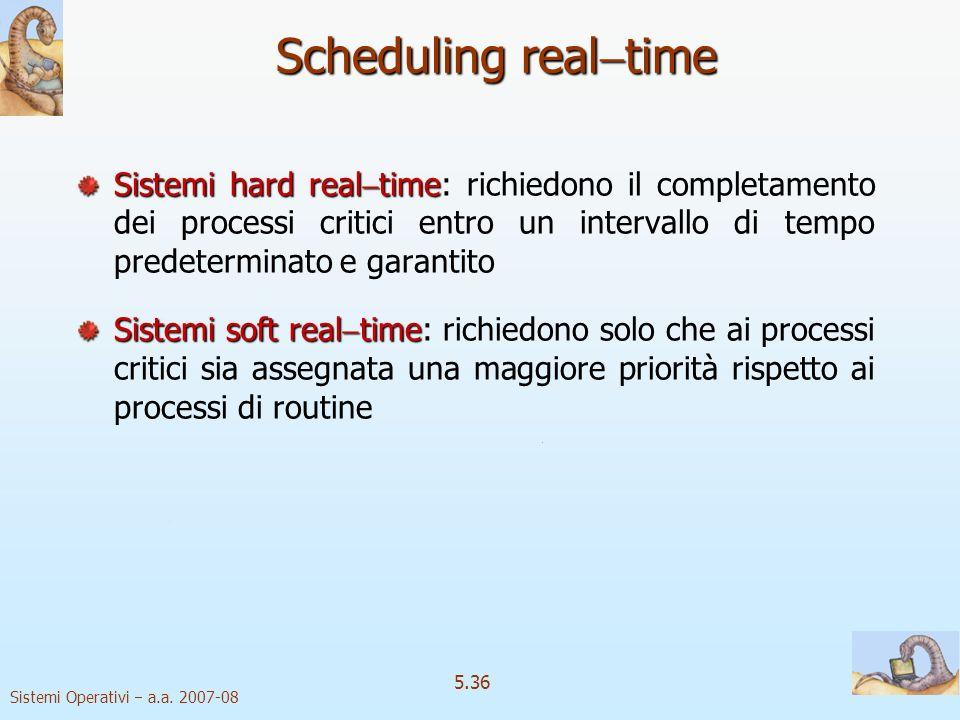 Scheduling realtime Sistemi hard realtime: richiedono il completamento dei processi critici entro un intervallo di tempo predeterminato e garantito.